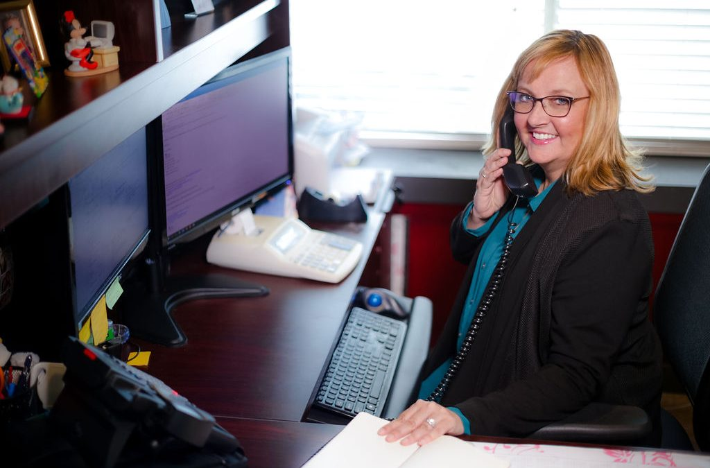 Shelly Eastman, CFO taking a customer's phone call